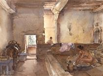 The Chateau Bath, Equilly (Paméla Bathing) - William Russell Flint