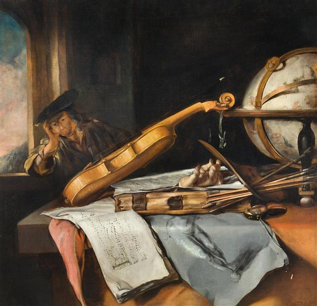 Vanitas Still Life with Thinking Young Man, c.1645 - Samuel van Hoogstraten
