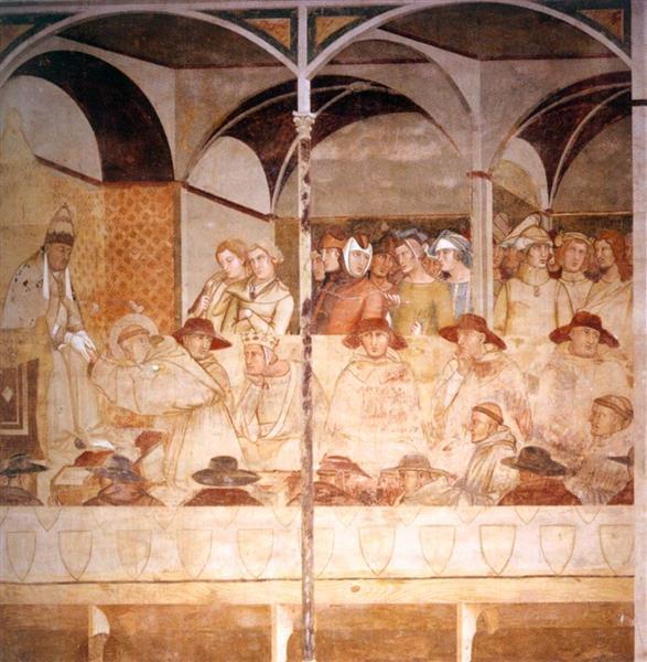 Pope Boniface VIII Receiving St Louis of Toulouse as a Novice, 1327 - Амброджо Лоренцетті