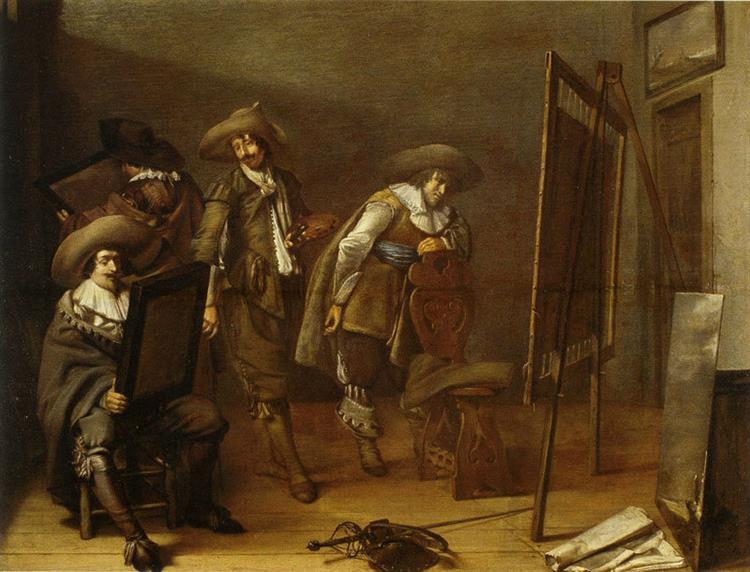 Art Lovers in a Painter's Studio, 1630 - Pieter Codde