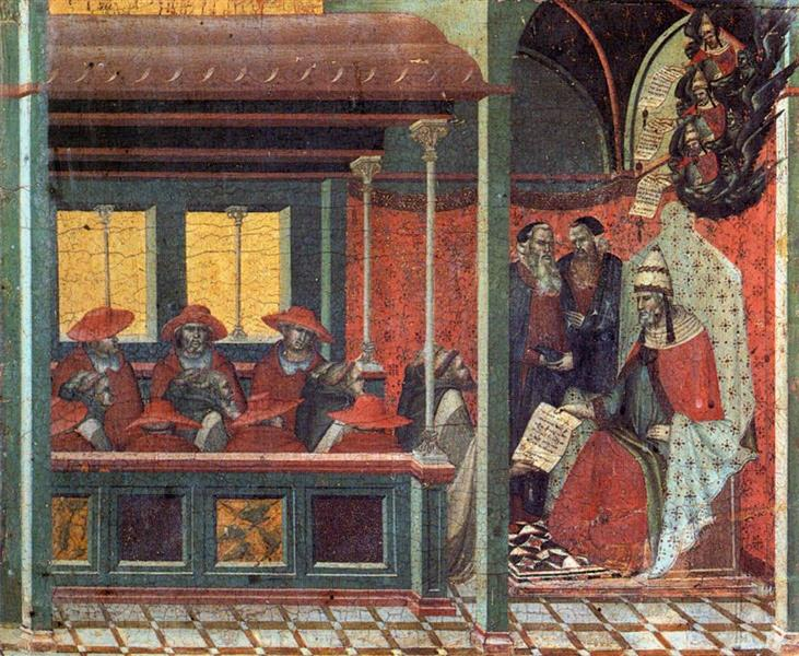 Predella Panel. The Pope Issues a Bull to a Carmelite Delegation, 1329 - Pietro Lorenzetti