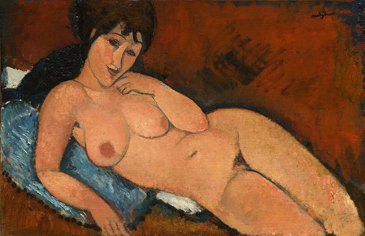 Nude on a Blue Cushion, 1917 - Amedeo Modigliani