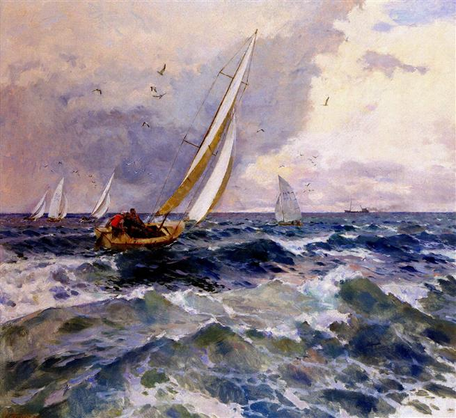 Yachts in the Sea, 1985 - Victor Puzyrkov