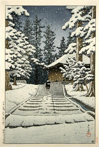 Konjikido in Snow, Hiraizumi, 1957 - Hasui Kawase