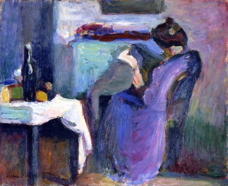Reading Woman In Violet Dress, 1898 - Henri Matisse