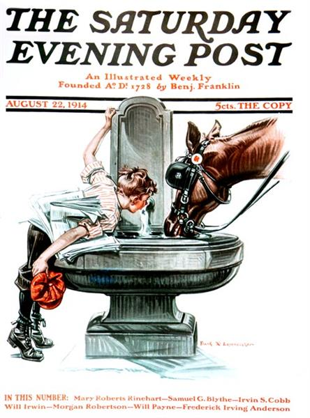 """Drink of Water""  Saturday Evening Post Cover, 1914 - Frank Xavier Leyendecker"