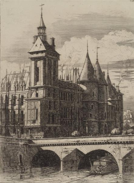 La Tour De L'horloge, 1852 - Charles Meryon