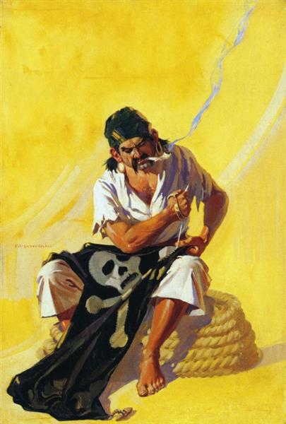 Mending the Pirate Flag - Frank Xavier Leyendecker