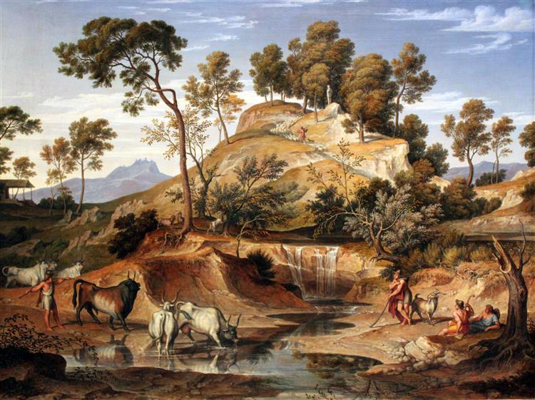 Serpentara Landscape with Herdsmen and Cows at a Spring, 1833 - Joseph Anton Koch