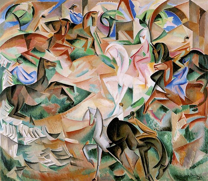 Equestrian Fantasy with Pink Lady, 1913 - Alice Bailly