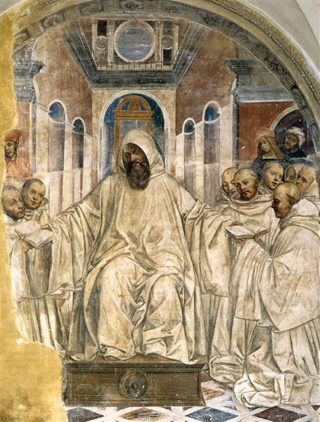 Benedict Presents the Olivetan Monks with His Rule, 1508 - Il Sodoma