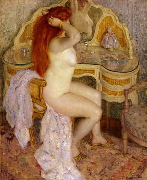 Nude Seated at Her Dressing Table, 1909 - Frederick Carl Frieseke