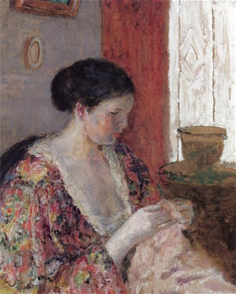 The Artist's Wife Sewing, 1923 - Frederick Carl Frieseke