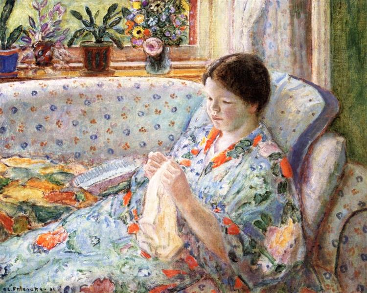 The Chinese Robe (also Known as Girl Sewing), 1931 - Frederick Carl Frieseke