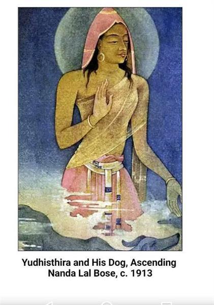 Yudhisthira and His Dog, Ascending, 1913 - Nandalal Bose