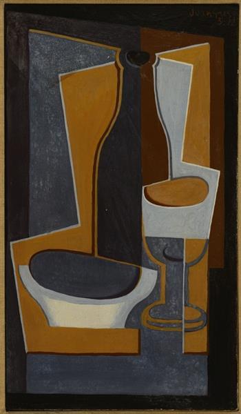 Bouteille, bol et verre, 1922 - 胡安·格里斯