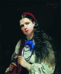 A Girl Braiding Her Hair - Алексей Иванович Корзухин