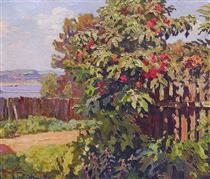 Landscape with a Fence - Konstantin Ivanovich Gorbatov