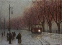 River Bank with Tram - Jakub Schikaneder