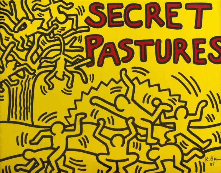"A Poster for the Bill T. Jones and Arnie Zane Performance Piece ""Secret Pastures"", 1984 - Кит Харинг"