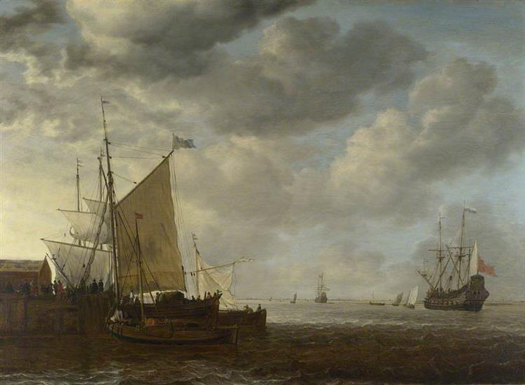 A View of An Estuary with Dutch Vessels at a Jetty and a Dutch Man of War at Anchor, 1650 - Simon de Vlieger