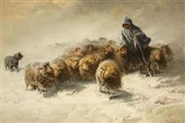 FLOCK OF SHEEP IN THE SNOW - August Friedrich Schenck
