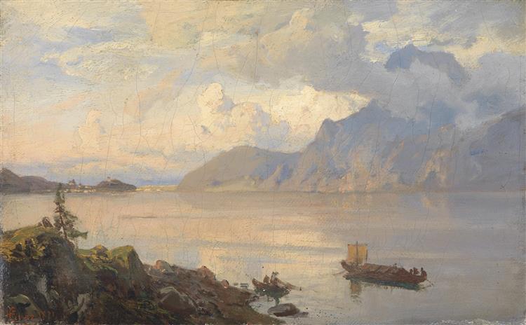 Ansicht Des Traunsees, Signiert, 1871 - Hans Gude