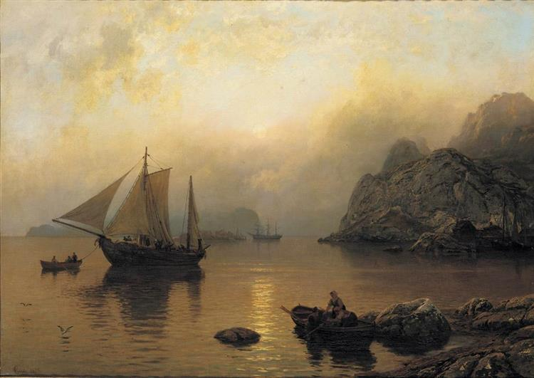 Fishing Party at Sunrise, 1873 - Hans Gude
