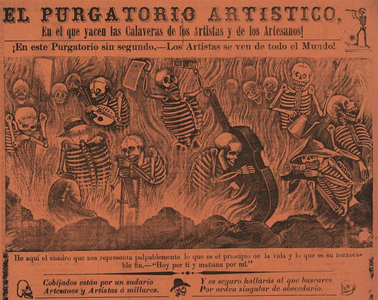 Artistic Purgatory. In Which Lie the Calaveras of Artists and Artisans!, 1904 - José Guadalupe Posada