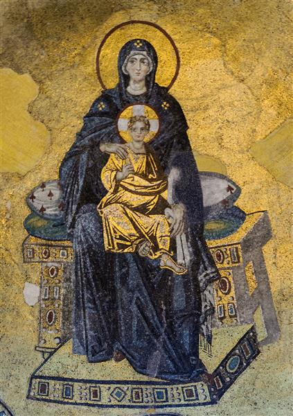 The Virgin and Child (theotokos) Mosaic, in the Apse of Hagia Sophia - Byzantine Mosaics