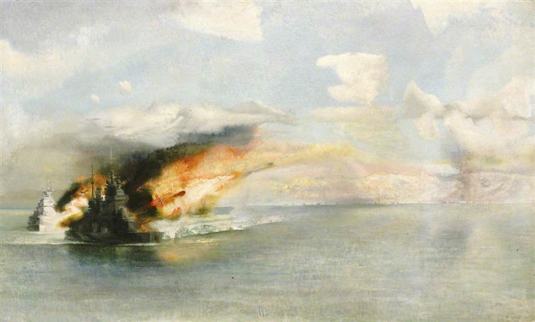 Capital Ships Bombard Salerno, 1943 - Richard Eurich