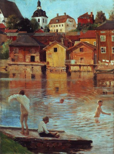 Boys Swimming in the Porvoo River - Albert Edelfelt