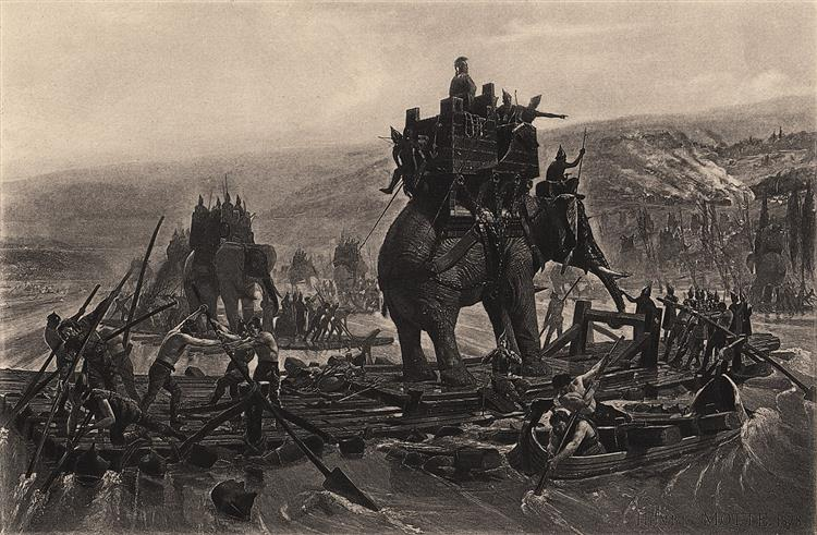 Hannibal's army crossing the Rhône - Henri-Paul Motte