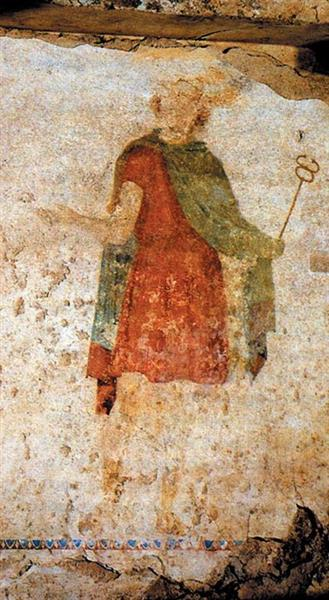 Fresco from the Tomb of Judgment in Ancient Mieza, Greece (Hermes) - Ancient Greek Painting