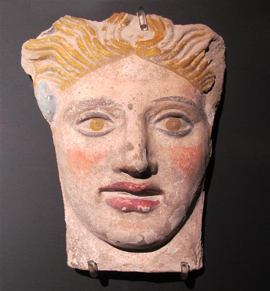 Gorgon Head Antefix, perhaps from Taranto, c.400 BC - Ancient Greek Painting
