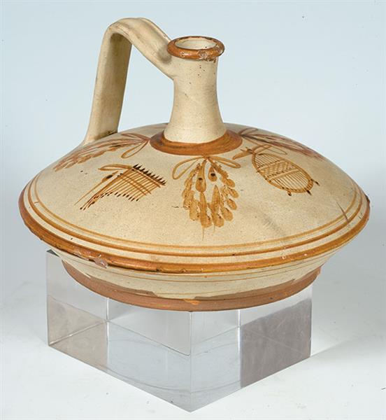 Squat Jug (lagynos) Decorated with Wreaths and a Syrinx on An off White Ground, c.100 BC - Ancient Greek Pottery