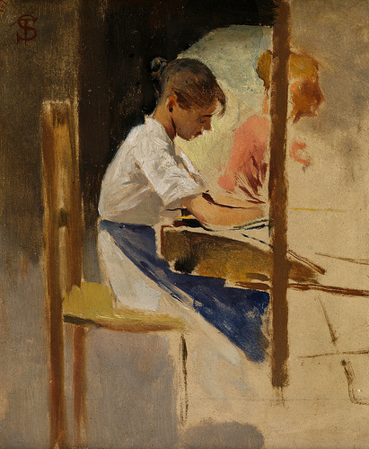 Sketch for 'straw Weavers at Settignano' - Telemaco Signorini