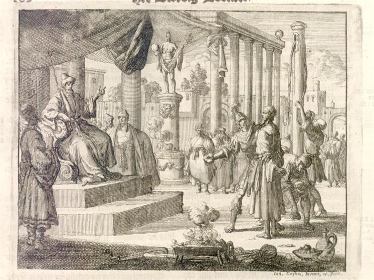 Torture of Tharacus, Probus, and Adronicus, Tarsus, AD 290, 1685 - Jan Luyken