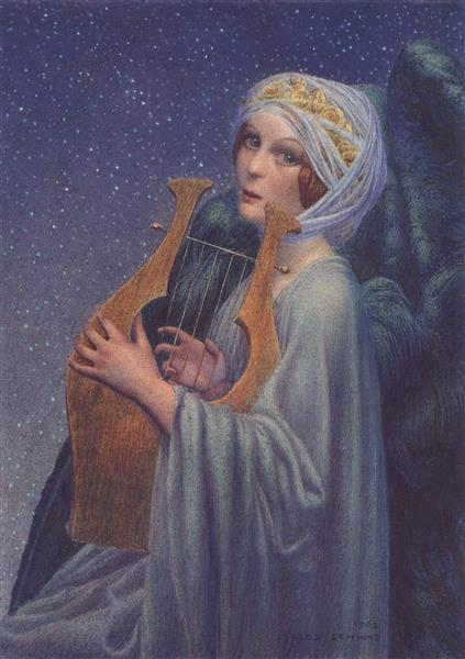 Woman With Lyre, 1908 - Carlos Schwabe