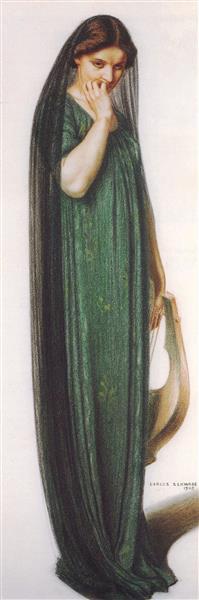 Woman With Lyre, 1905 - Carlos Schwabe