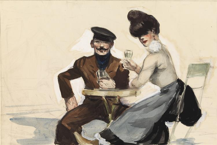 Couple Drinking, 1906 - 1907 - Edward Hopper
