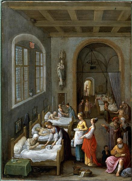 Saint Elizabeth of Hungary Bringing Food for the Inmates of a Hospital, c.1598 - Адам Ельсгаймер