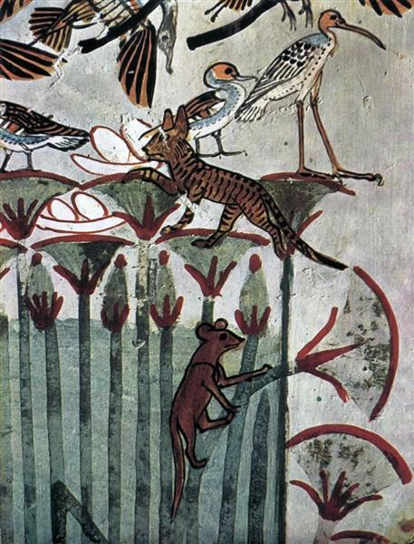 Hunting and Fishing, Cat and Ichneumon, c.1422 - c.1411 BC - Ancient Egyptian Painting