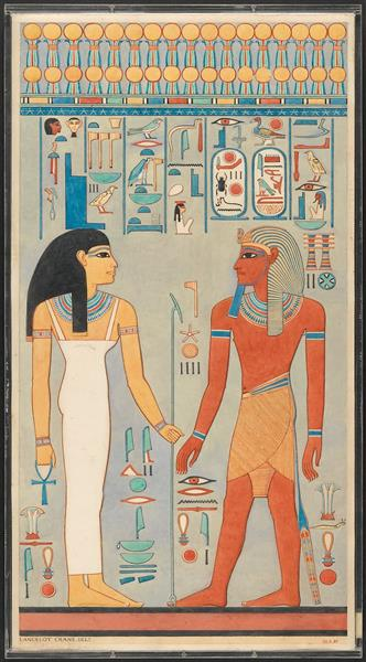 The King with Isis, Tomb of Haremhab - Ancient Egyptian Painting