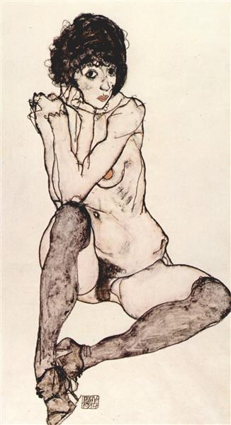 Seated female nude with elbows propped, 1914 - Егон Шиле