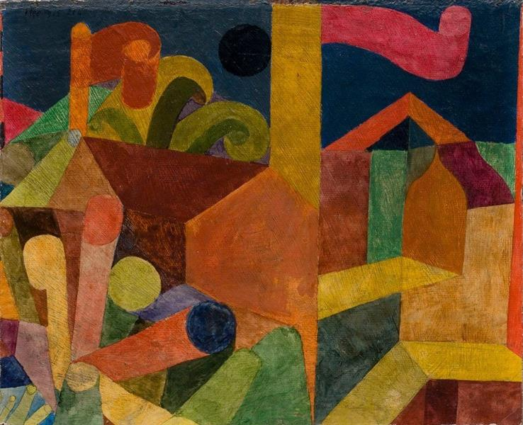 Landscape with flags, 1914 - Paul Klee