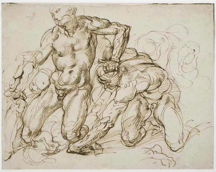 Study of Male Nudes Fighting, c.1563 - c.1572 - Bartolomeo Passerotti
