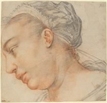 Head of a Young Woman - Hendrick Goltzius