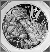 Enslavement by the Predators (Design for the Back of Solzhenitsyn Medallion) - Stanisław Szukalski