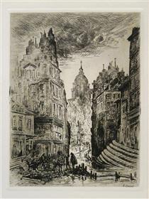 Vue Urbaine, Incendie Nocturne, « Rue Du Haut Palé » - Fernand Combes